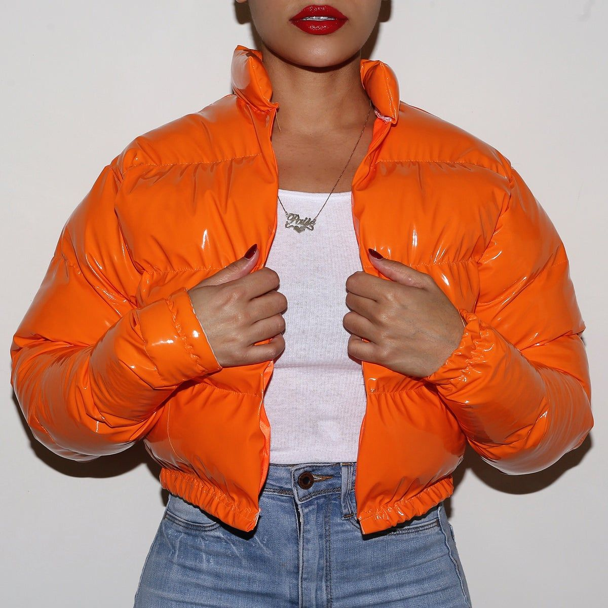 Pvc Vinyl If You Don T Want To Order The One Size Fits All Coat Specify In The Details Once You Check Out Th Bubble Jacket Outfit Orange Outfit Orange Fashion [ 1200 x 1200 Pixel ]