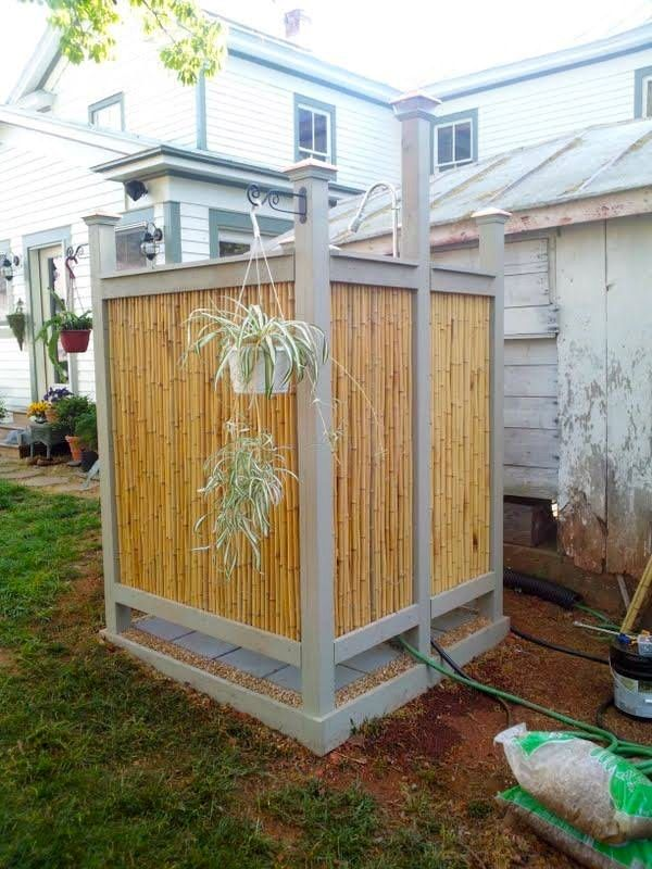 Diy Bamboo Shower Outdoors Up Do It With Recycled Rain