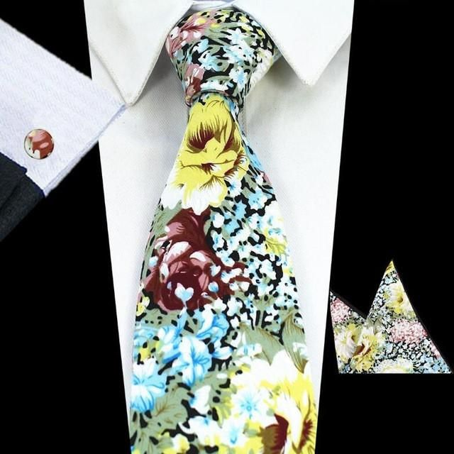 100/% Cotton Hanky Cufflink-Brand New Men's Tie Set–Multi Colour Patterned
