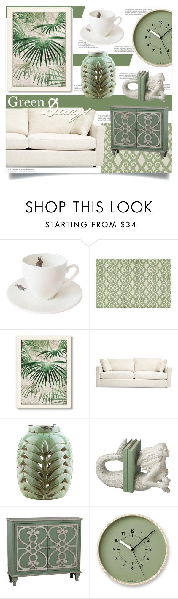"""""""Green Days"""" by tammara-d ❤ liked on Polyvore featuring interior, interiors, interior design, home, home decor, interior decorating, Outlandish Creations, Americanflat, Balmain and Surya"""