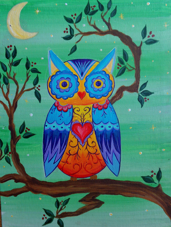 Mexican Folk Art Owl Etsy Mexican Folk Art Owl Painting Whimsical Art