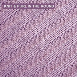[Knit and Purl in the round] This simple pattern creates a fabric with a diagonal purl ridge