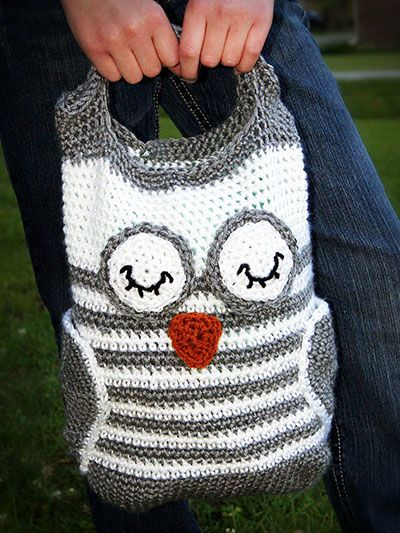 Crochet Accessory Patterns Handbags Totes Owl Tote Sewing