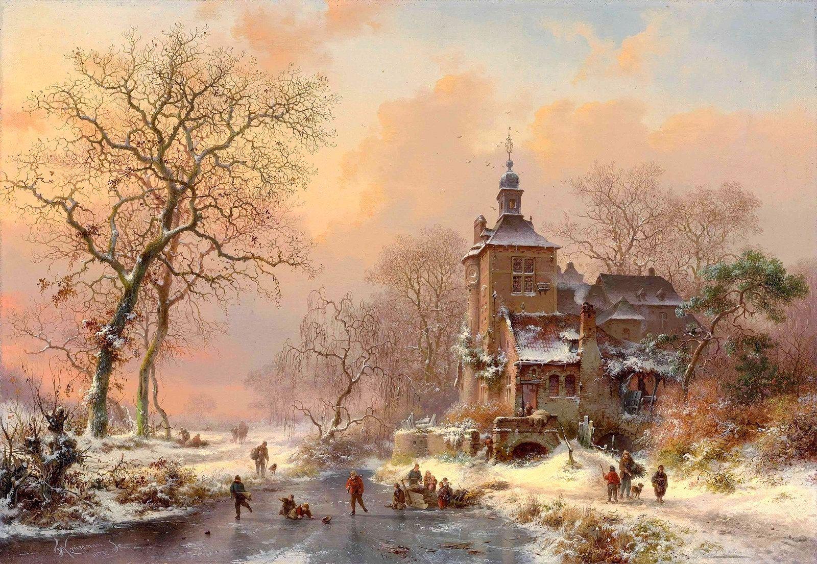 Landscape Paintings Winter River