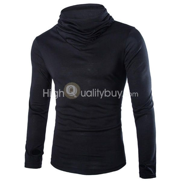 Men's Heaps Collar Design Solid Color Long Sleeve T-shirt Black - $13.16
