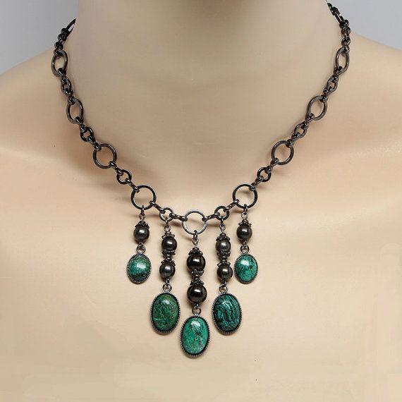 Handmade Gemstone Necklaces   Chrysocolla Gemstone Necklace Handmade Necklace By ElandraDesigns