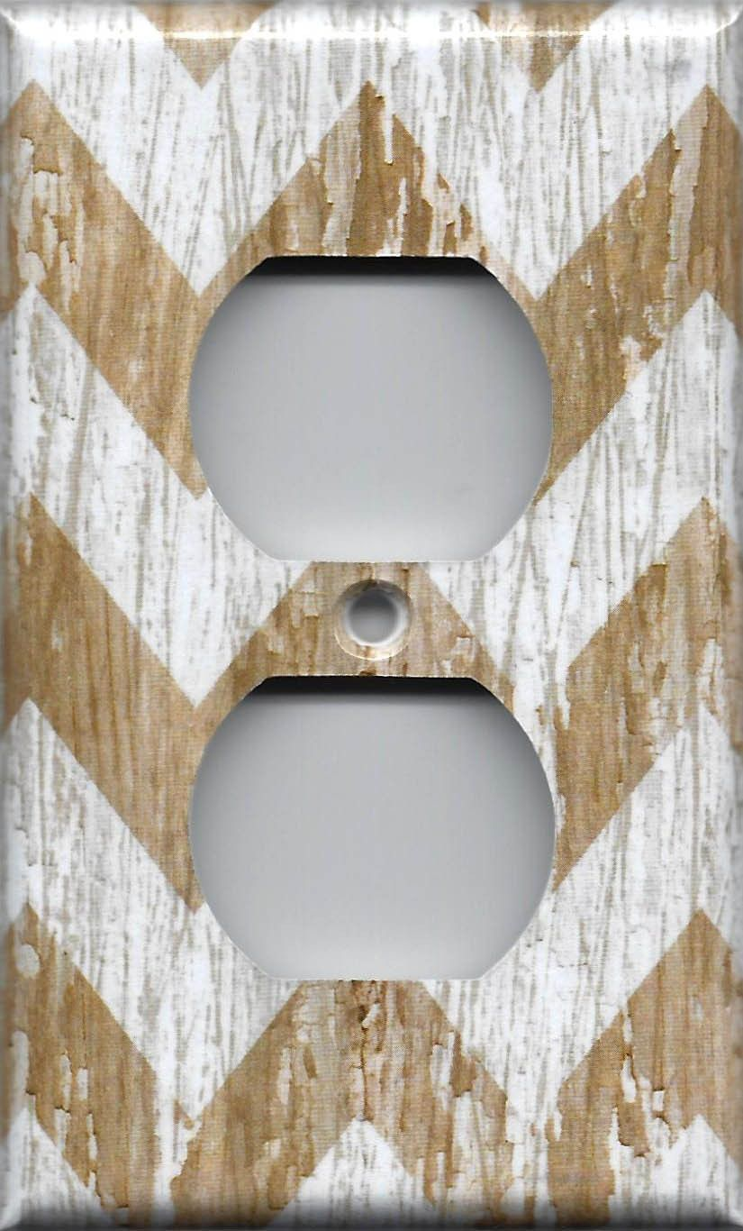 Farmhouse White Washed Barnwood Chevron Light Switch
