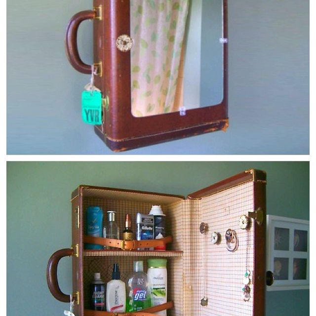 Briefcase Medicine Cabinet Old Suitcases Upcycle Repurpose Suitcase Shelves