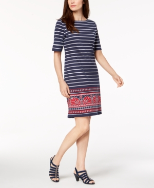 00304a670533 Karen Scott Petite Mixed-Print Dress, Created for Macy's - Blue P/XL ...