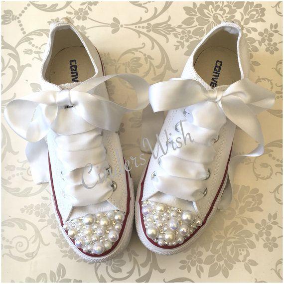 de4f205922b1 Pearl Converse   bridal converse   wedding converse  bride converse ...