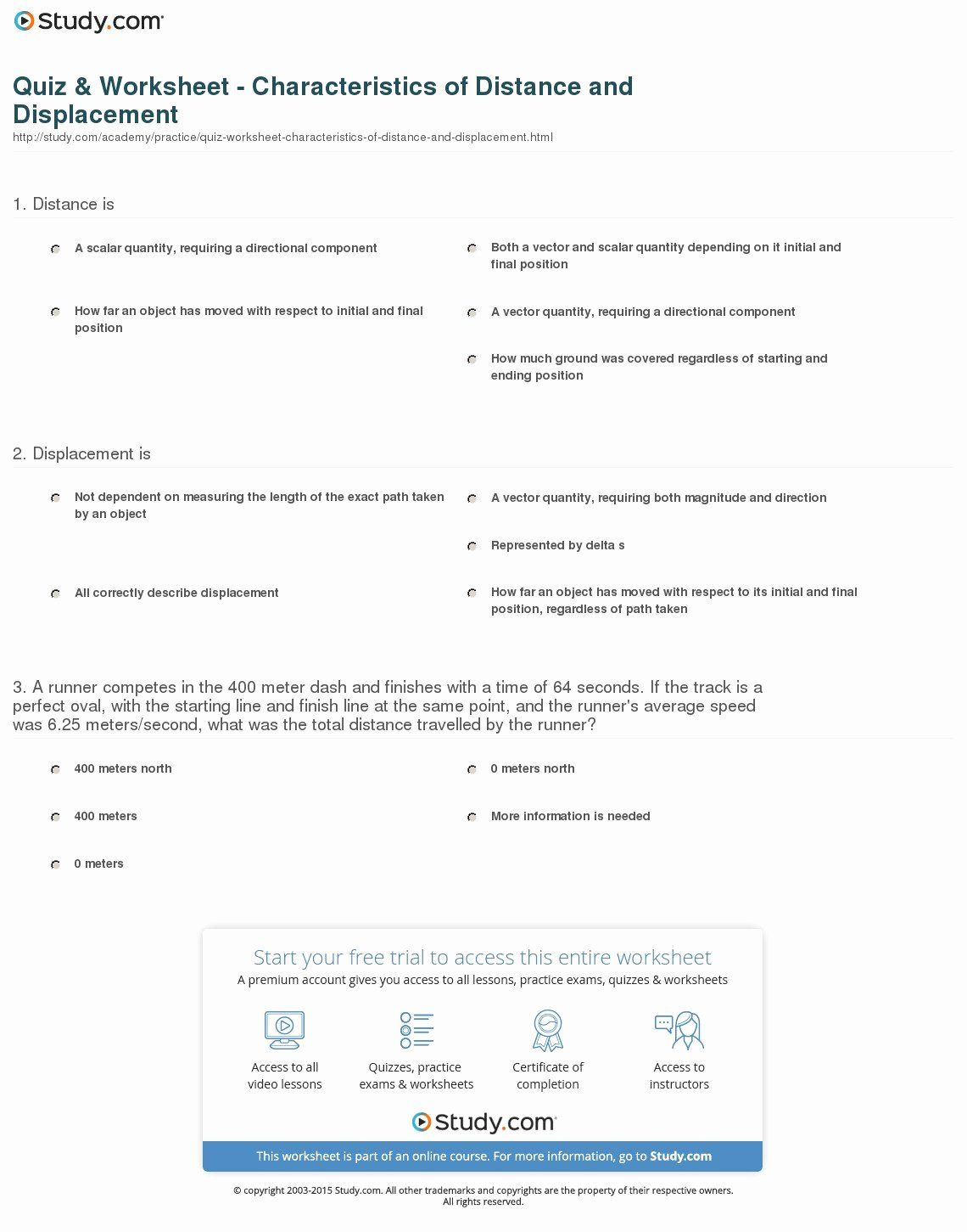Distance And Displacement Worksheet Answers Luxury Quiz