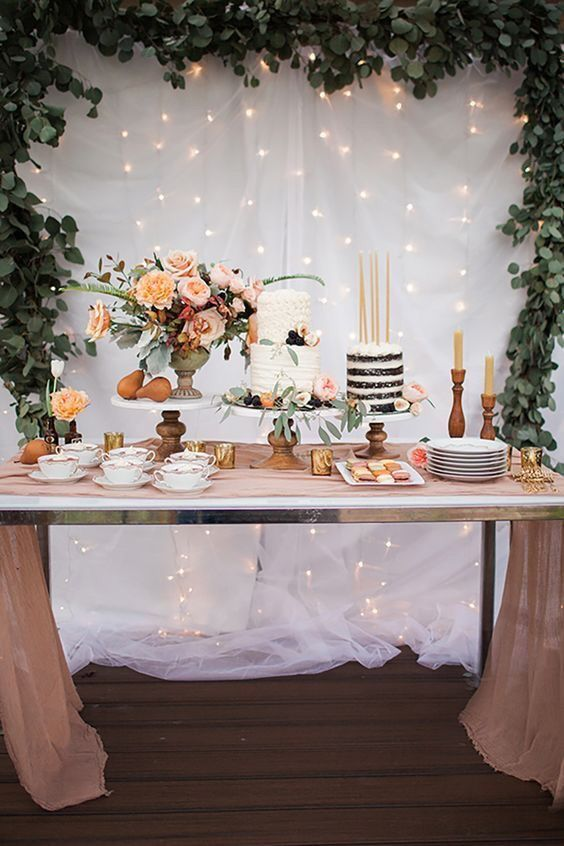 Beautiful Setup Eucalyptus Garland Simple Colors And Beautiful Cakes Fresh Flowers 18th Birthday Party 30th Birthday Parties Birthday Parties