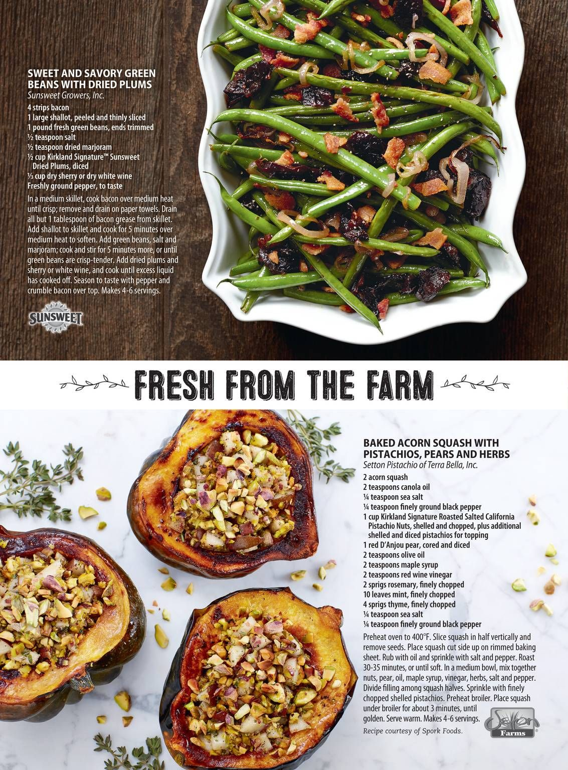 baked acorn squash with pistachios pears and herbs the costco