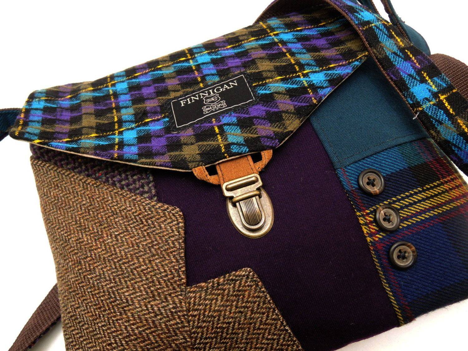 Crossbody Purse iPhone pocket, Recycled mens suit coat , Purple wool, Eco Friendly,  Back to School, Tote bag, Ready To Ship by SewMuchStyle on Etsy
