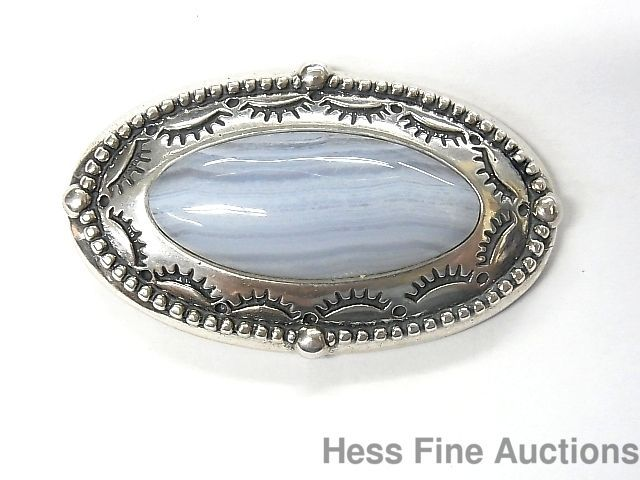 Southwest Style Relios Carolyn Pollack Sterling Silver Blue Lace Agate Pendant