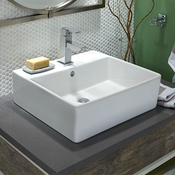 Bathroom Sinks Loft Above Counter Sink With Faucet Hole White