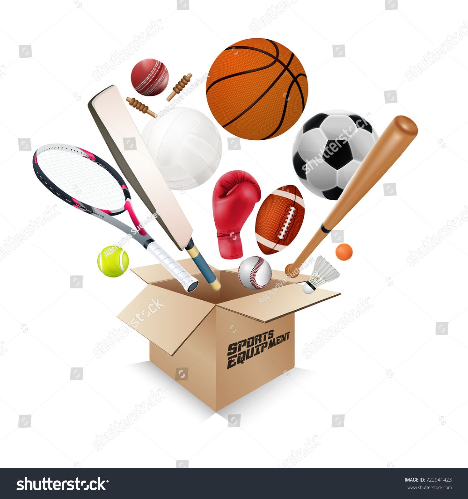 Sports Equipment Collection Out Of Box With A Football Basketball Baseball Soccer Tennis Ball Volleyball Boxing Gloves Sports Equipment Sports Football