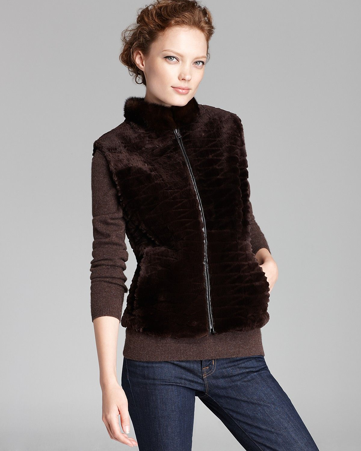 329ddd200 Maximilian Sheared Beaver Fur Vest with Mink Collar | Bloomingdale's ...