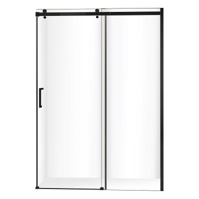 VIGO Elan 56 to 60 in. x 74 in. Frameless Sliding Shower Door in Black with Clear Glass and Handle-VG6041MBCL6074 - The Home Depot