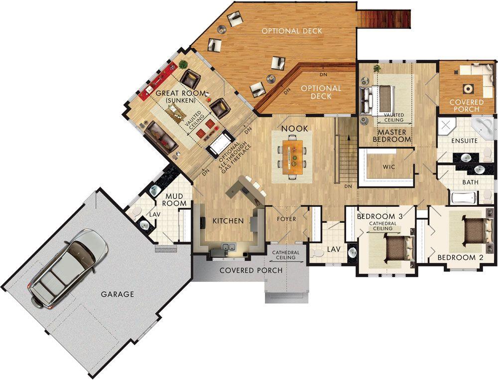 Cedar glen ii floor plan planos pinterest planos for Planos casas sims