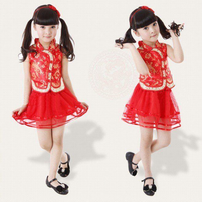 Ethnic Chinese Modern cheongsam qipao kids girl clothes princess dress sweet kid