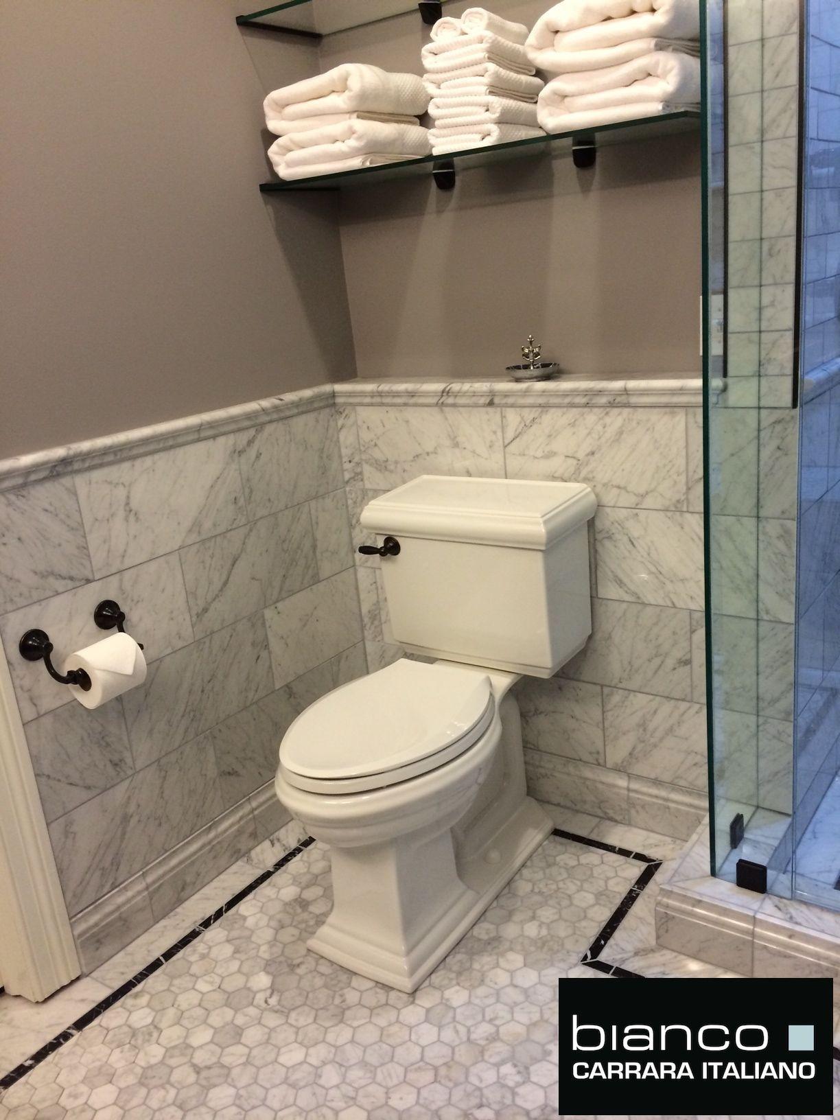 Carrara 8x16 Subway Tile Marble Bathroom Bathroom Floor Tiles Carrara Marble Bathroom