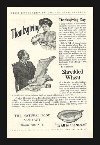 1906 Shredded Wheat Biscuit Thanksgiving Vintage Ad