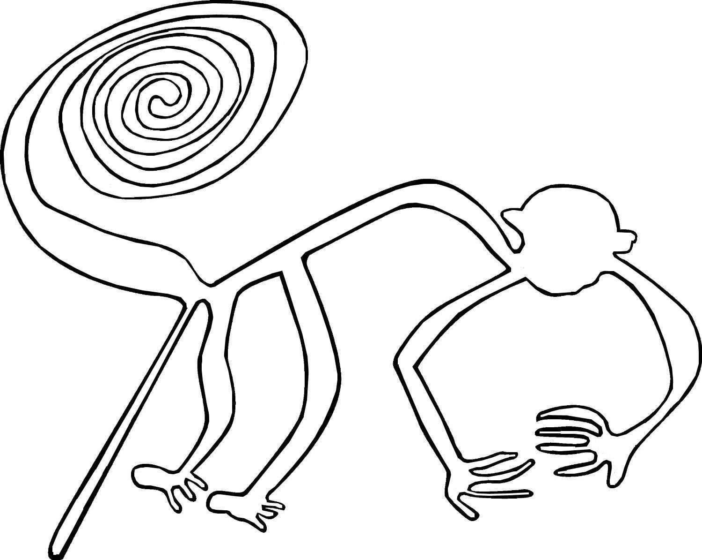 Nazca Plateau Contour Line Drawing Monkey