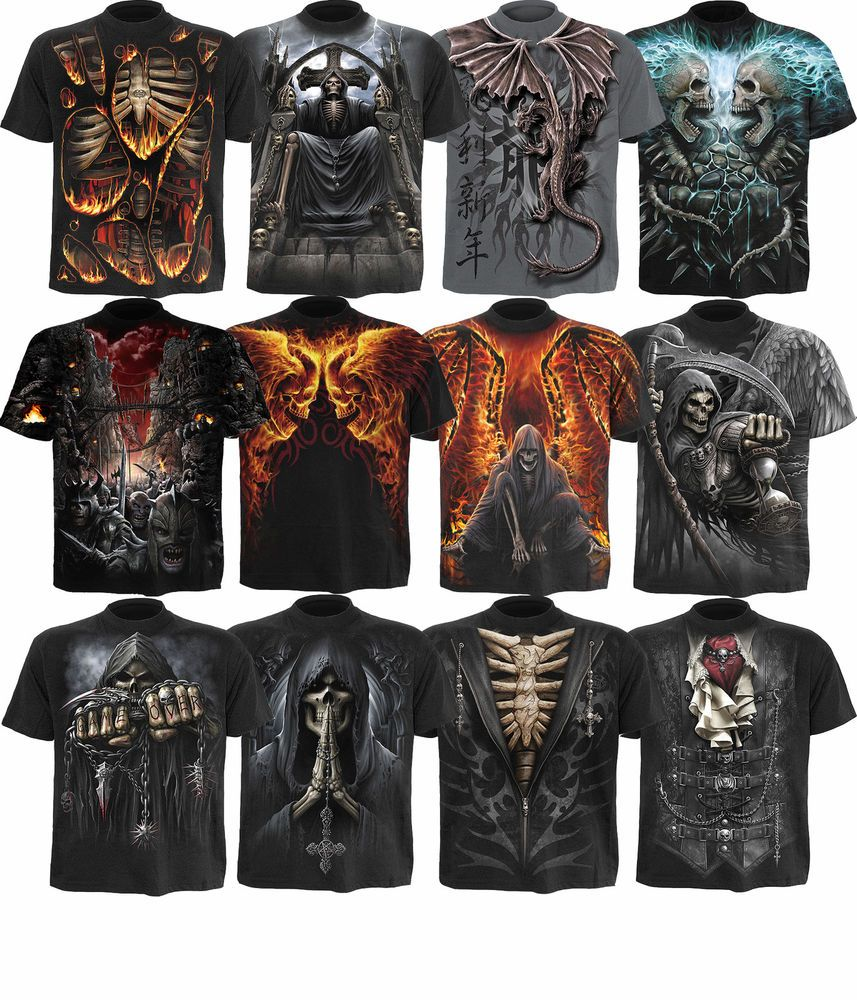 Spiral Direct Game Over T Shirts//Skull//Gothic//Biker//Horror//Rock//Metal//Top//Tee