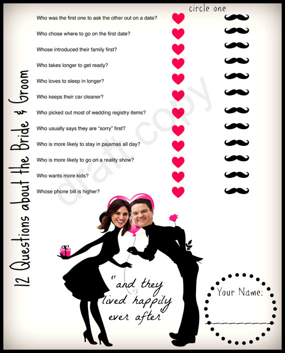 bride and groom trivia game valentines bridal shower