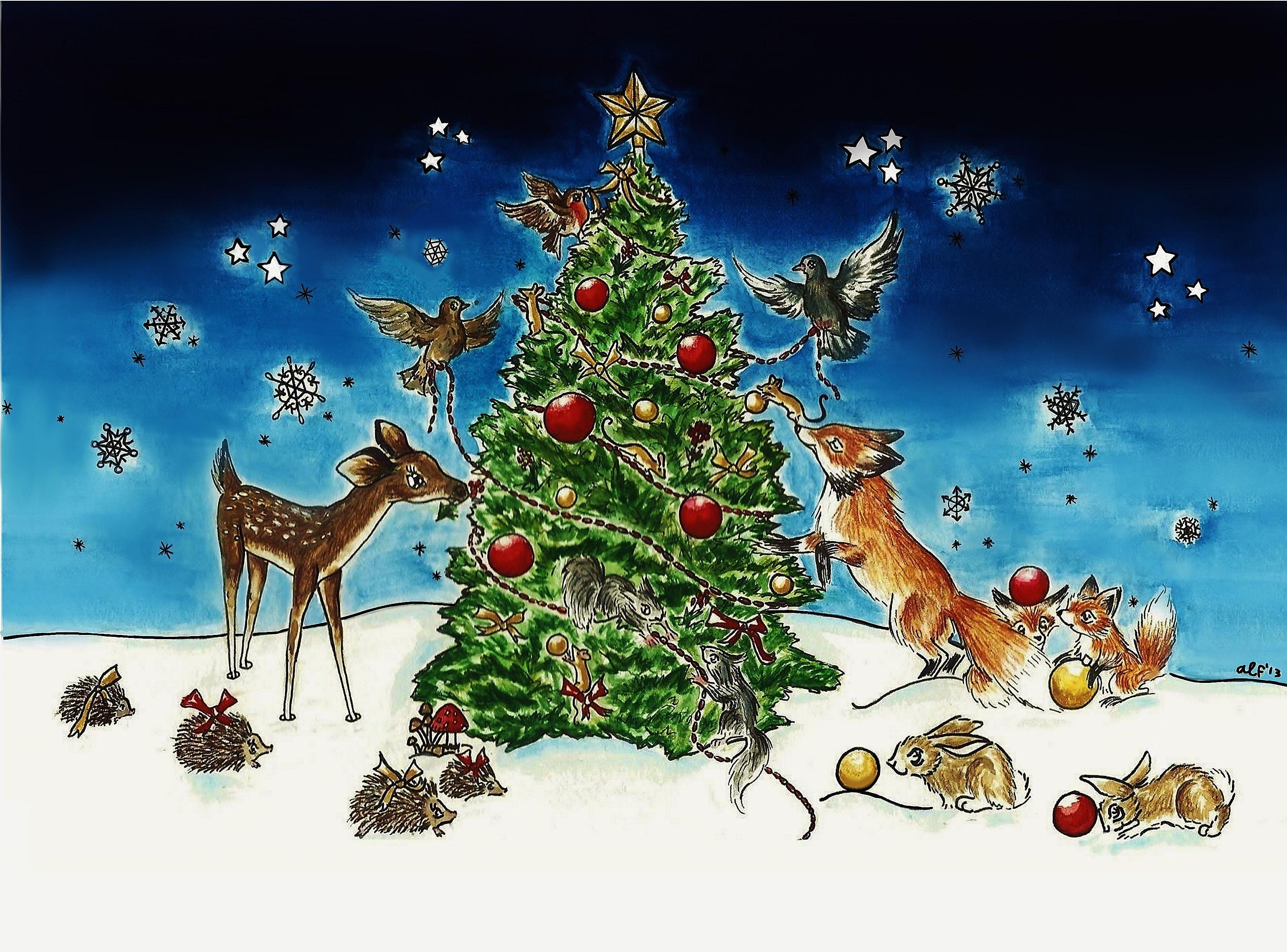 Woodland Animals Decorating A Christmas Tree