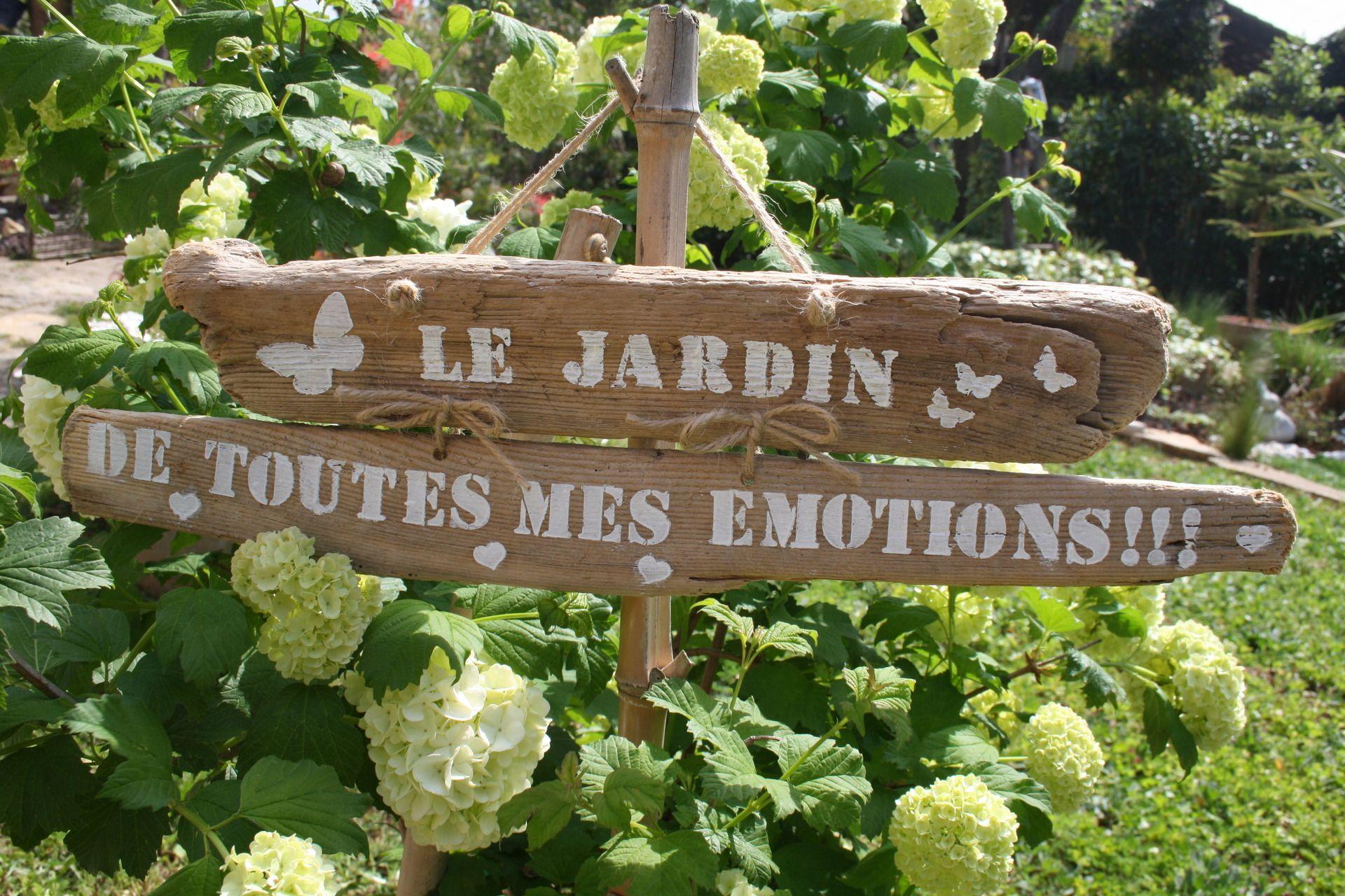 Duo de pancartes en bois flott theme le jardin de toutes for Jardin accessoire deco