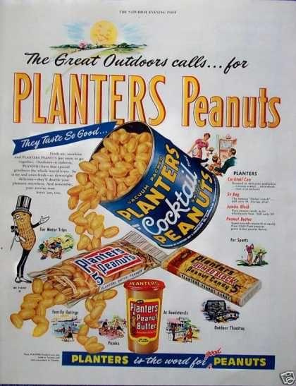 Planters Peanuts 1955 Vintage Advertising Art Vintage