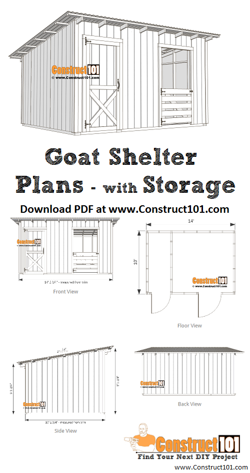 10x14 Goat Shelter Plans with Storage - PDF Download | Goat ... on guinea fowl house design, quail house design, tornado-proof house design, duck house design, chicken house design, housing simple house design, rooster house design, conch house design, chief architect house design, mouse house design, dragon house design, rest house design, turkey house design, cattle house design, gold house design, vietnamese house design, hog house design, rabbit house design, troll house design, virgo house design,