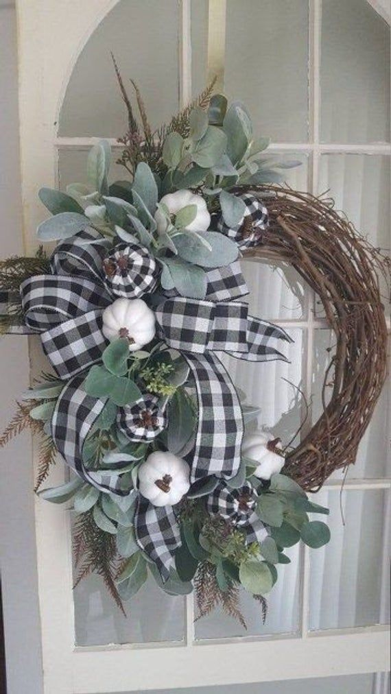 Photo of Fall farmhouse wreath, farmhouse wreath, buffalo check wreath, pumpkin wreath,fall wreath , fall front door wreath, black white wreath