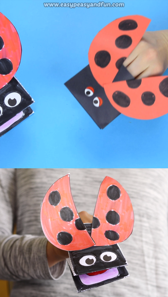 Ladybug Puppet Printable Template #animalcraftsforkids
