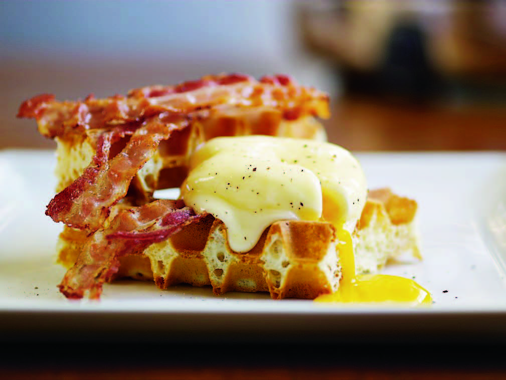 Savory Waffles with Poached Eggs & Bacon