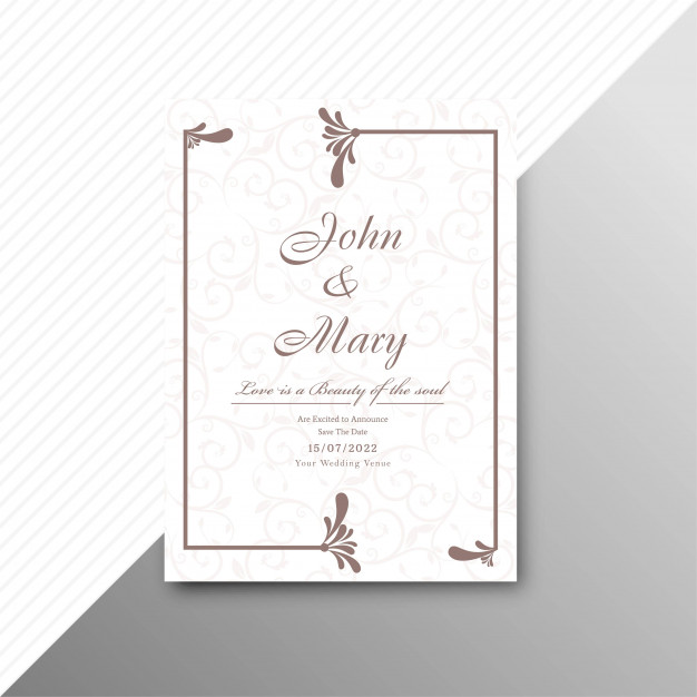 Abstract Stylish Wedding Invitation Card Floral Template