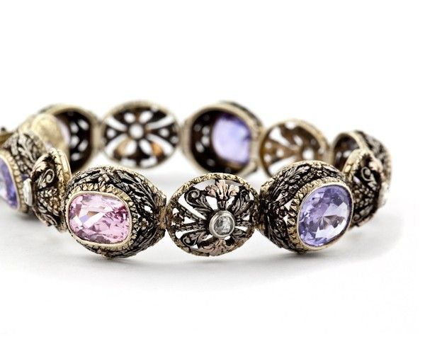 Vintage Bracelet Of 18 Karat Yellow Gold And Sterling Silver Set With Pink Purple Shires Diamonds Created In Italy Circa 1920