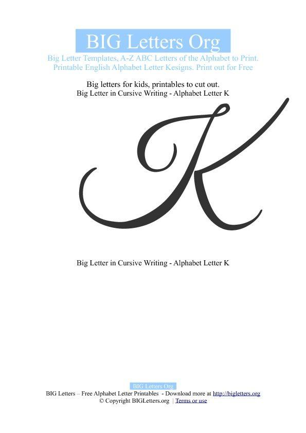 Cursive Lower Case K : cursive, lower, Printable, Letter, Templates, Letters, Lettering,, Cursive, Writing,