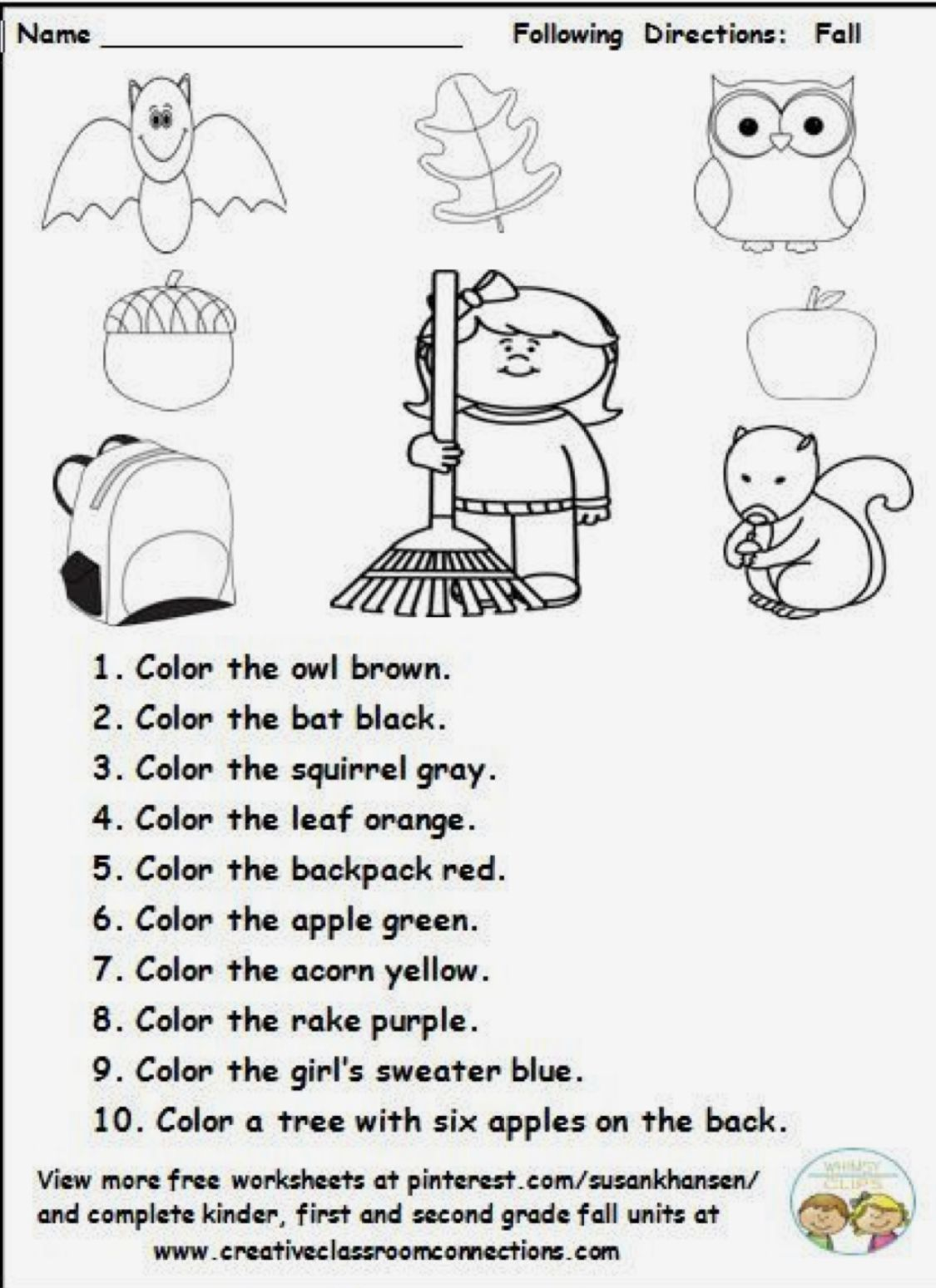 hight resolution of Fall coloring   Following directions activities