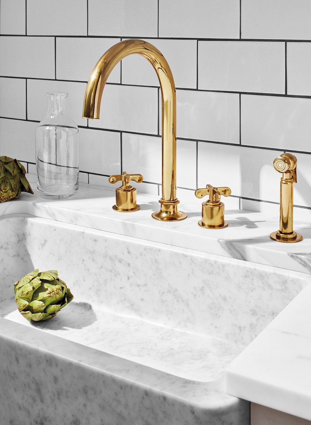 Henry Three Hole Gooseneck Kitchen Faucet Metal Cross Handles And Spray Brass Kitchen Faucet Gooseneck Kitchen Faucet Brass Kitchen Tap