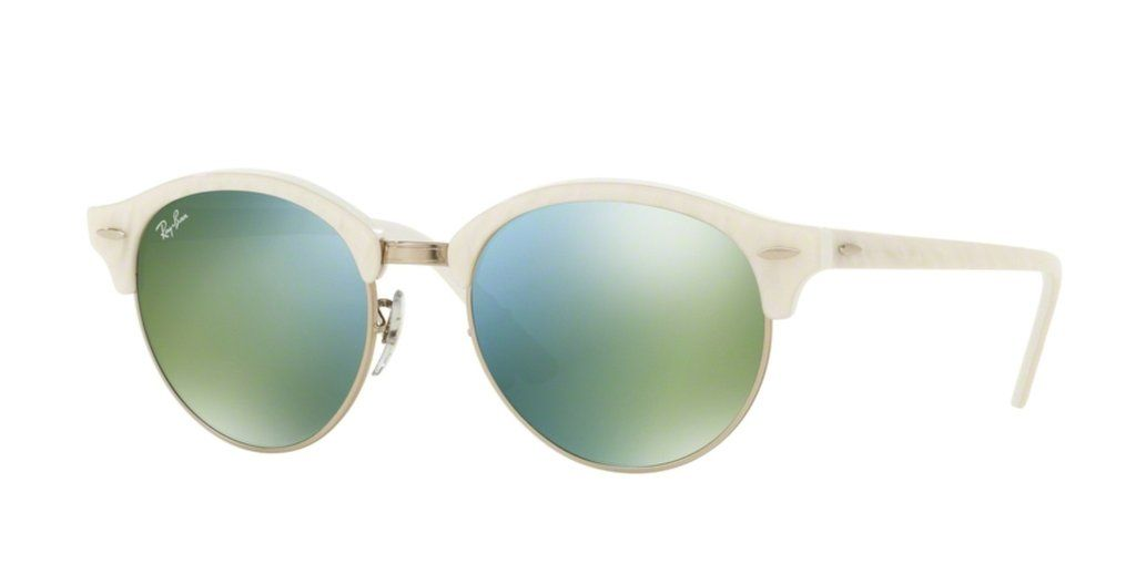 d124cf202b Ray-Ban RB4246-988 2X Top Wrinkled White on White Clubround Sunglasses