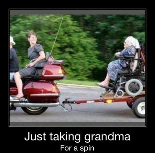Grandma going for a ride