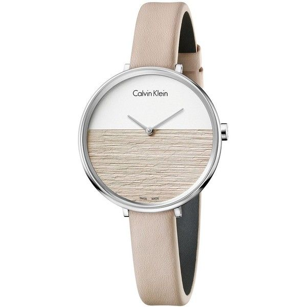Calvin Klein Rise Stainless Steel Leather Strap Watch ($225) ❤ liked on Polyvore featuring jewelry, watches, beige leather, water resistant watches, pin jewelry, two tone watches, calvin klein watches and calvin klein