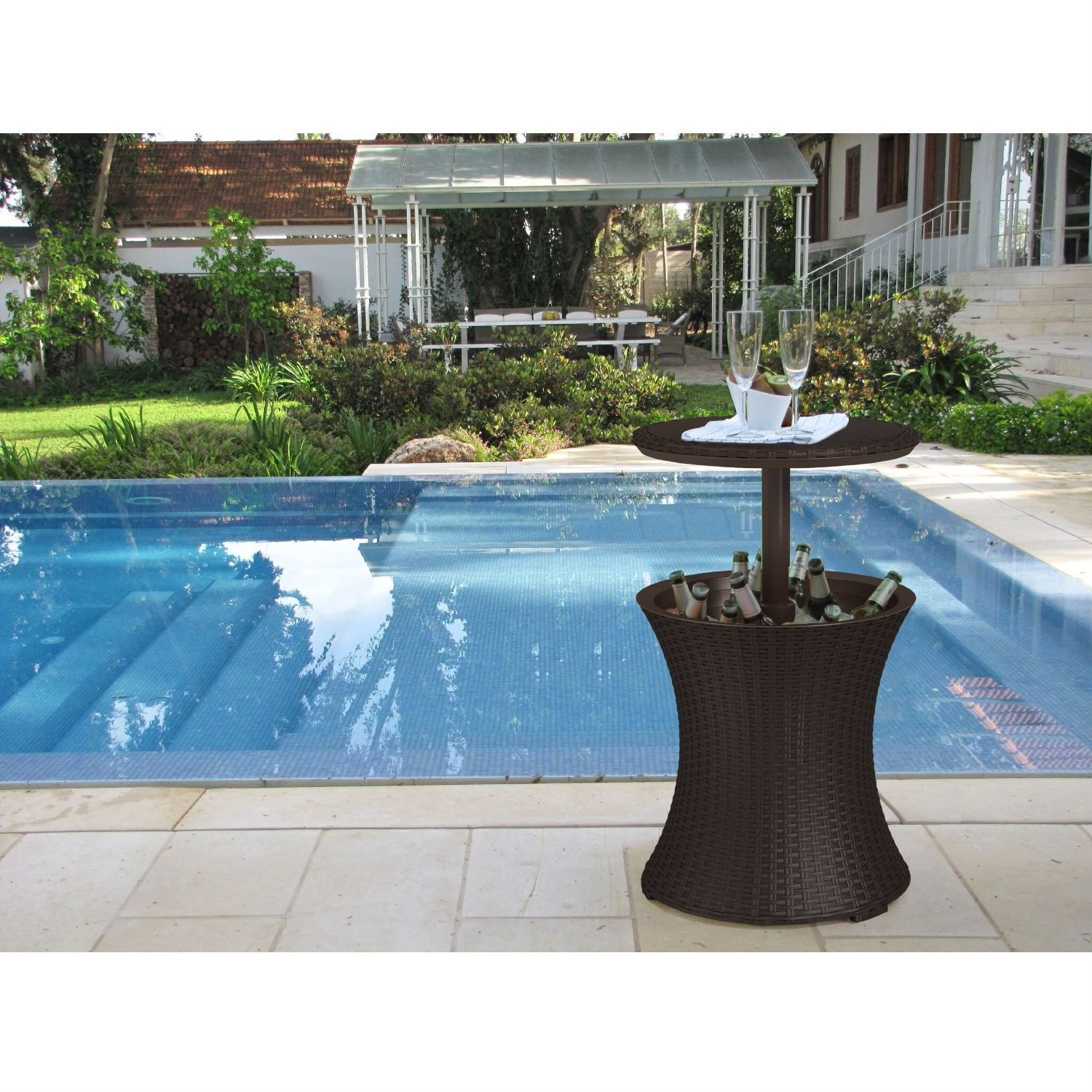 Outdoor Patio Pool Cocktail Table Cooler Bar In Brown Wicker Resin Hearts Attic Patio Cooler Outdoor Cooler Swimming Pools Backyard