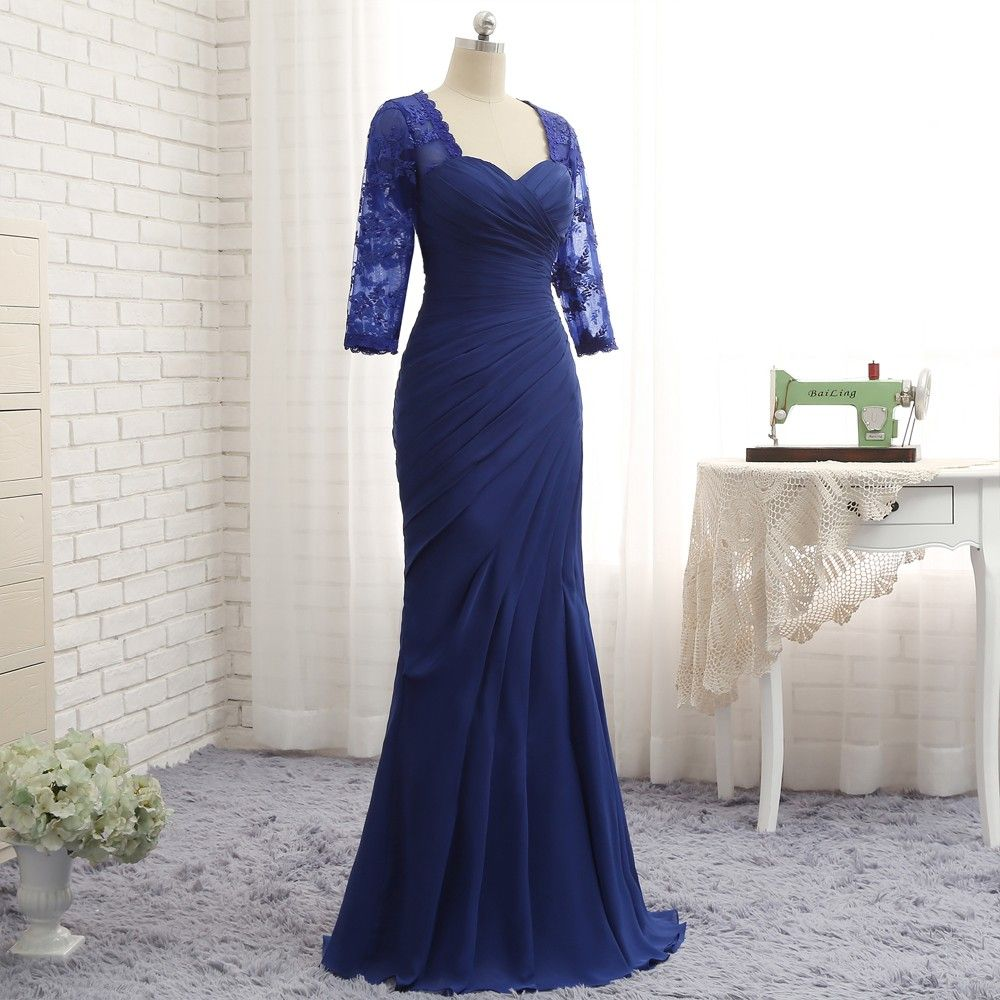 Unusual Mother Of The Bride Dresses: Royal Blue 3/4 Sleeves Lace Long Mermaid Mother Of The