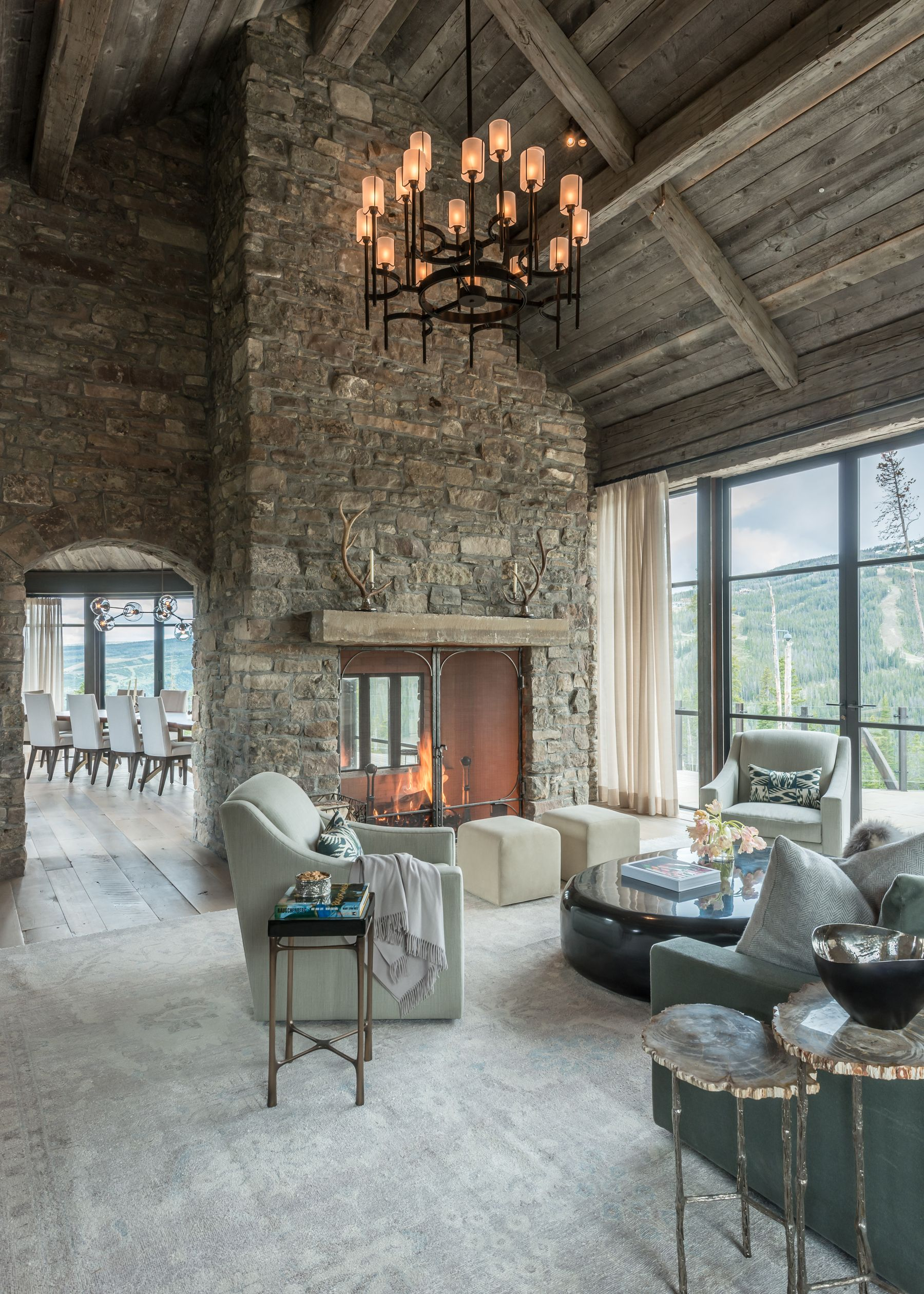 Living Room Open To Dining With Steel Windows And 2 Sided Fireplace Architecture Farm House Living Room Rustic Home Design
