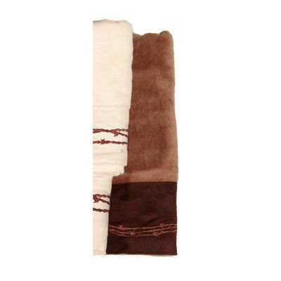 HiEnd Accents Embroidered Barbwire 3 Piece Bath Towel Set Mocha - TW3190-OS-MC