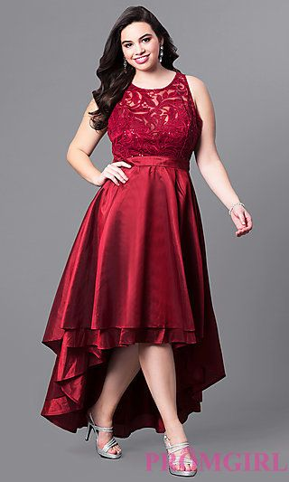 Plus-Size High-Low Prom Dress with Illusion Lace | High low ...